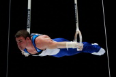 Arthur Nabarrete Zanetti of Brazil competes in the Rings Final on Day Six of the Artistic Gymnastics World Championships Belgium 2013 held at the...