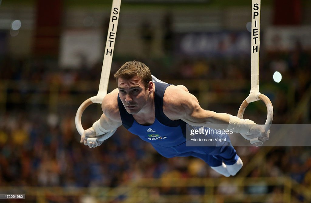 Arthur Nabarrete Zanetti of Brazil competes on the Rings during day two of the Gymnastics World Challenge Cup Brazil 2015 at Ibirapuera Gymnasium on May 3, 2015 in Sao Paulo, Brazil.