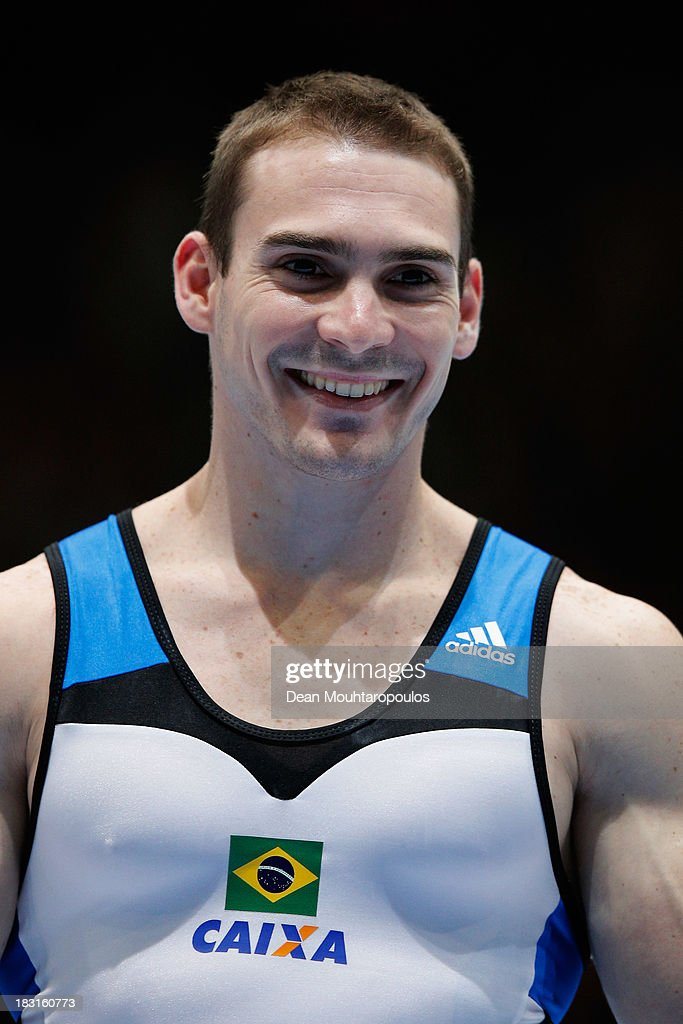 Arthur Nabarrete Zanetti of Brazil poses after winning the gold medal in the Rings Final on Day Six of the Artistic Gymnastics World Championships Belgium 2013 held at the Antwerp Sports Palace on October 5, 2013 in Antwerpen, Belgium.