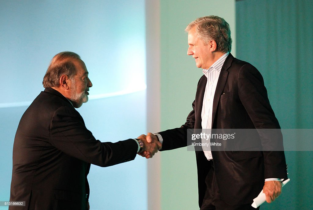 Arthur O Sulzberger Jr right Publisher of The New York Times and Chairman of The New York Times Company and Carlos Slim Helu Chairman of Grupo Carso...