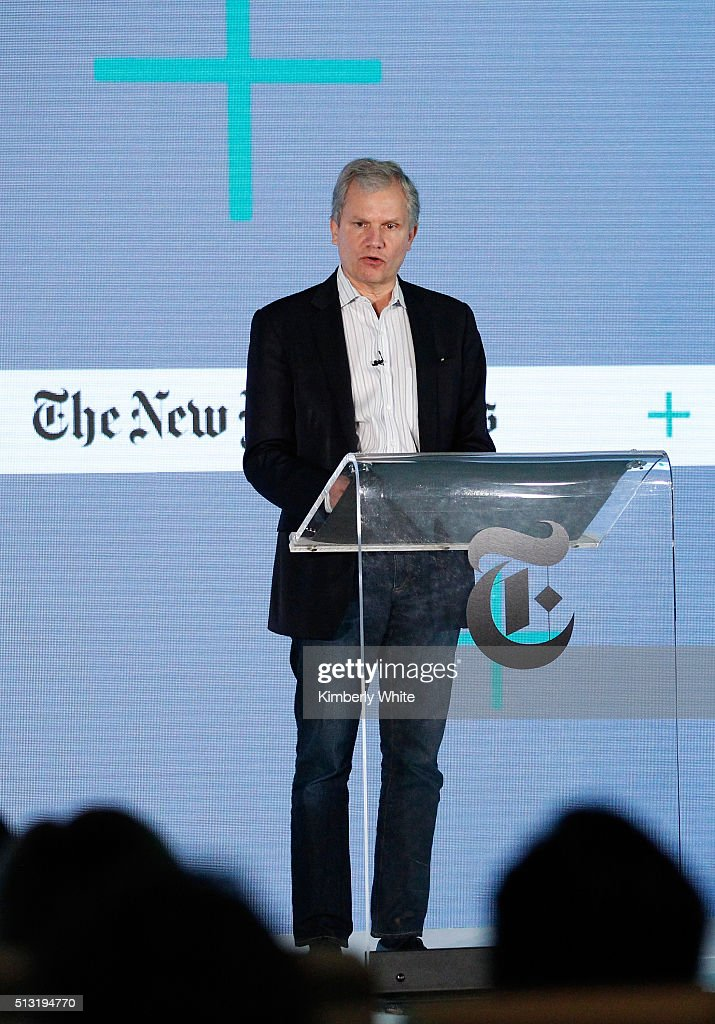 Arthur O Sulzberger Jr The New York Times Publisher and The New York Times Company Chairman speaks onstage at The New York Times New Work Summit on...