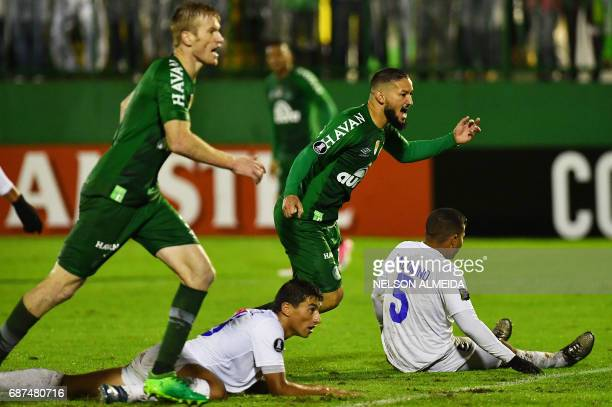 Arthur of Brazil's Chapecoense celebrates his goal scored against Venezuela's Zulia during their 2017 Copa Libertadores football match held at Arena...