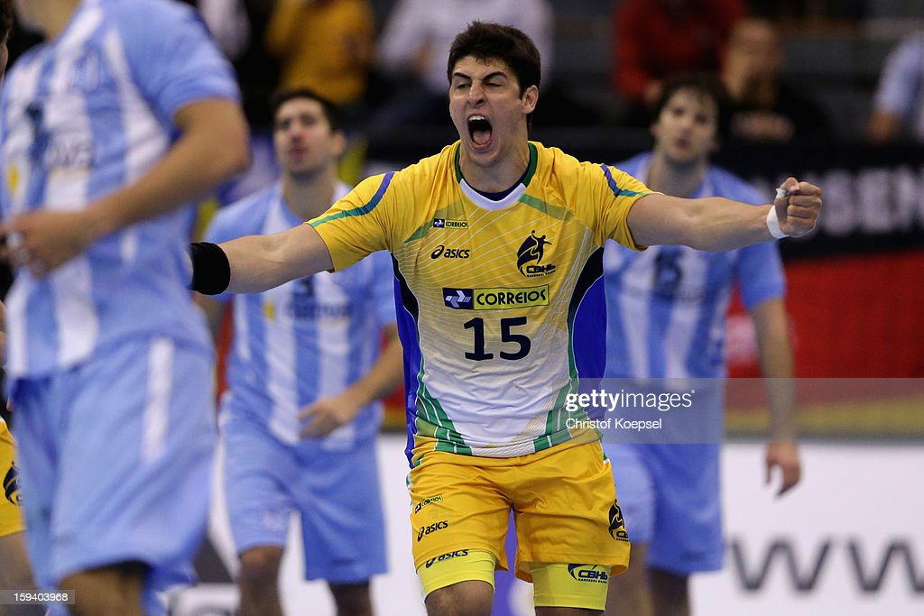 Arthur Patrianova of Brazil celebrates a goal during the premilary group A match between Brasil and Argentina and Montenegro at Palacio de Deportes de Granollers on January 13, 2013 in Granollers, Spain. The match between Brasil and Argentina ended 24-20.