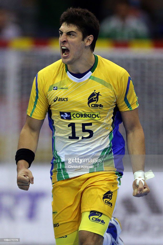 Arthur Patrianova of Brazil celebrates during the premilary group A match between Brasil and Argentina and Montenegro at Palacio de Deportes de Granollers on January 13, 2013 in Granollers, Spain.