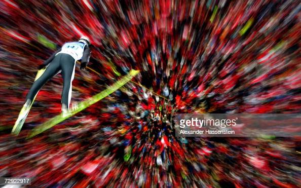 Arthur Pauli of Austria soars through the air during the first round at the FIS Ski Jumping World Cup event at the 55th Four Hills Ski Jumping...