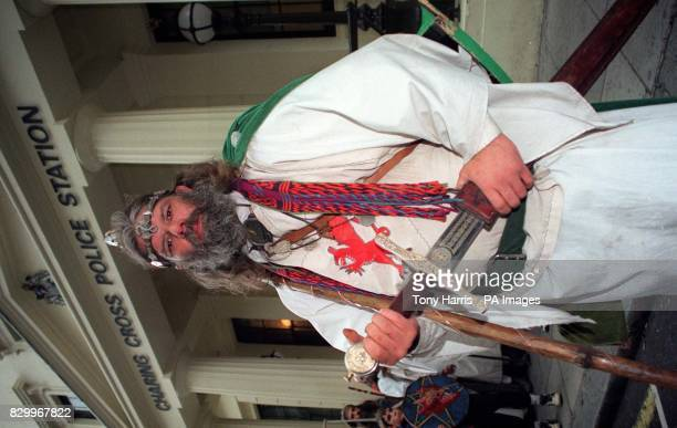 Arthur Pendragon who thinks he is the reincarnation of King Arthur poses for the media outside Charing Cross Police Station this afternoon after...