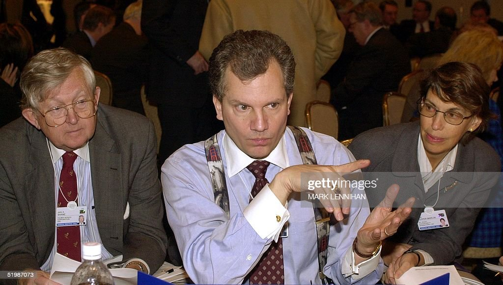 Arthur Sulzberger Jr chairman and publisher of the New York Times makes a point during a session on chief executive officer brainstorming at the...