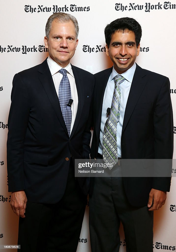 Arthur Sulzberger Jr Publisher of the New York Times and Founder of the Khan Academy Sal Khan attend the New York Times Schools For Tomorrow...