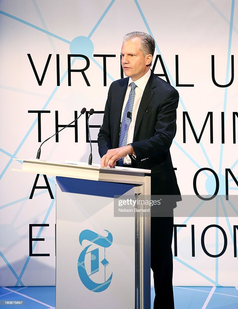 Arthur Sulzberger Jr Publisher of the New York Times delivers the welcome address at the the New York Times Schools For Tomorrow Conference at the...