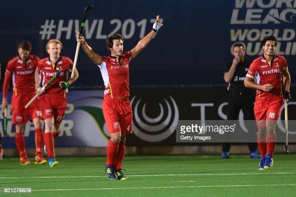 Arthur van Doren of Belgium celebrates his goal during day 9 of the FIH Hockey World League Men's Semi Finals final match between Belgium and Germany...