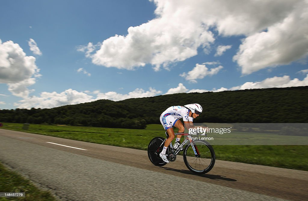 Arthur Vichot of France and FDJ-Bigmat in action during stage nine of the 2012 Tour de France, a 41.5km individual time trial, from Arc-et-Senans to Besancon on July 9, 2012 in Besancon, France.