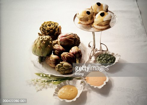 Artichoke Dips and stuffed Artichoke Hearts : Stock Photo