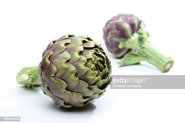 Artichokes on white background