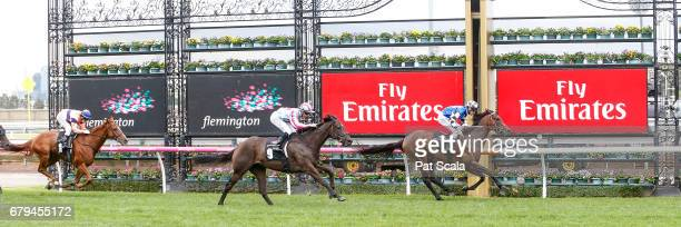 Articus ridden by Brad Rawiller wins the Chairman's Club Handicap at Flemington Racecourse on May 06 2017 in Flemington Australia