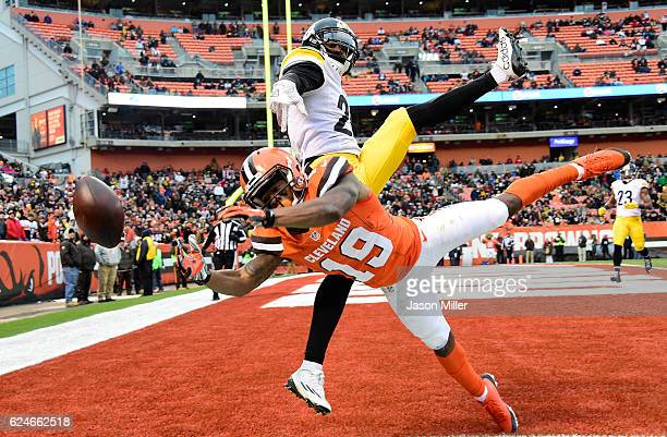 Artie Burns of the Pittsburgh Steelers breaks up a pass intended for Corey Coleman of the Cleveland Browns during the third quarter at FirstEnergy...