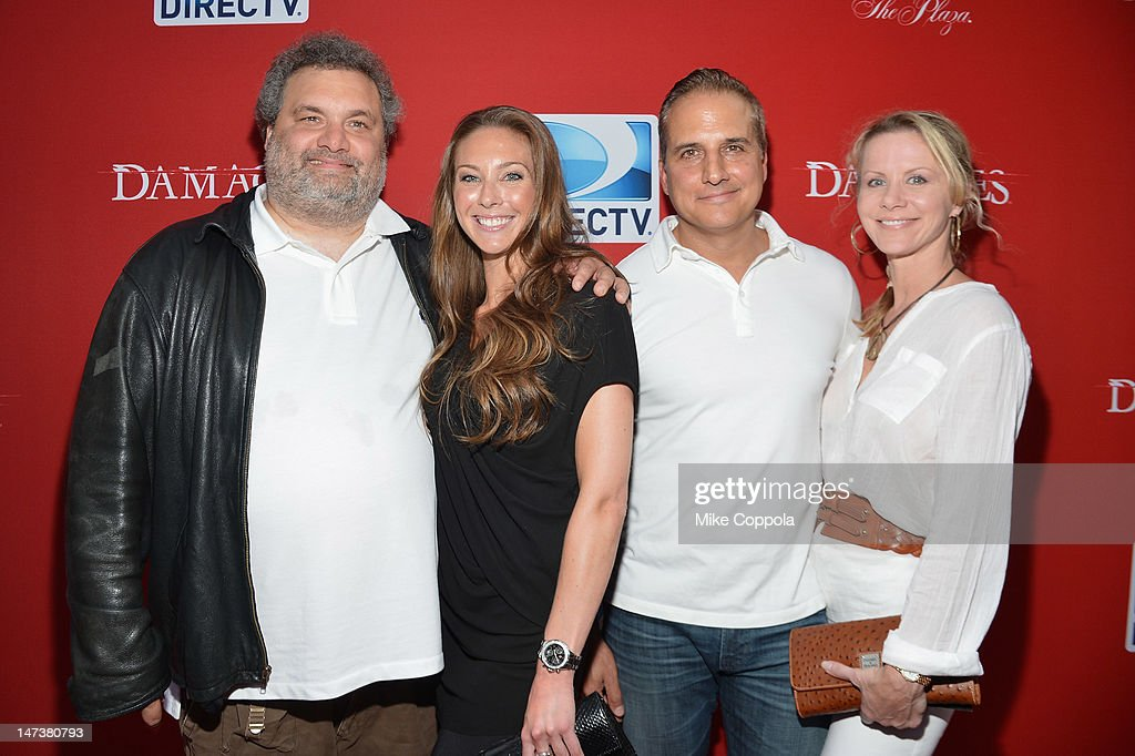 Artie Lang (L) and <a gi-track='captionPersonalityLinkClicked' href=/galleries/search?phrase=Nick+DiPaolo&family=editorial&specificpeople=2291985 ng-click='$event.stopPropagation()'>Nick DiPaolo</a> (2nd R) of The Nick and Artie Show and Andrea DiPaolo attend The DIRECTV Premiere Event For The Fifth And Final Season Of 'Damages' at Paris Theater on June 28, 2012 in New York City.