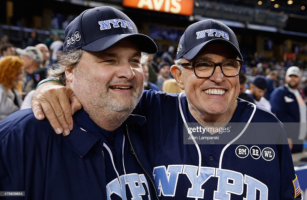 Artie Lange and former Mayor of New York City Rudolph Giuliani participate in the True Blue Celebrity Softball Game at the True Blue Celebrity...