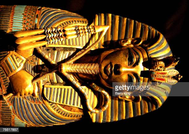 Artifacts from the Egyptian tombs of boy King Tutankhamun at the LACMA in Los Angeles CA