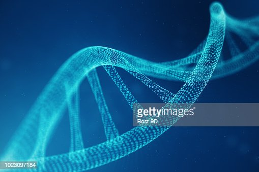 Artifical intelegence DNA molecule. DNA is converted into a binary code. Concept binary code genome. Abstract technology science, concept artifical Dna. 3D illustration : Foto stock