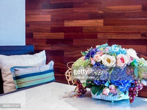Artificial flower vase in modern Living room : Stock Photo