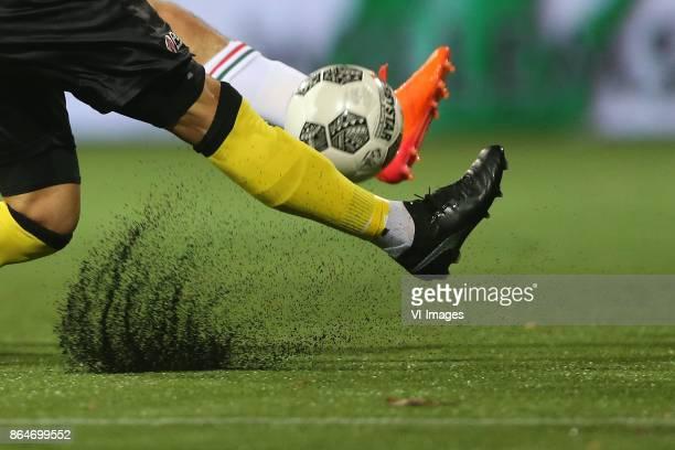 artificial grass rubber korrels kunstgras kunst gras voetbal during the Dutch Eredivisie match between VVV Venlo and ADO Den Haag at Seacon stadium...