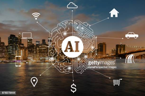 Artificial Intelligence concept of Manhattan, New York