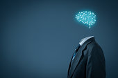 Artificial intelligence (AI), data mining, expert system software, genetic programming, machine learning, deep learning, neural networks and another modern computer technologies concepts. Brain repres