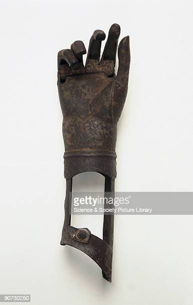 Artificial iron arm for left hand belowelbow amputee Artificial limbs such as these were expensive items made by armourers and they allowed wearers...