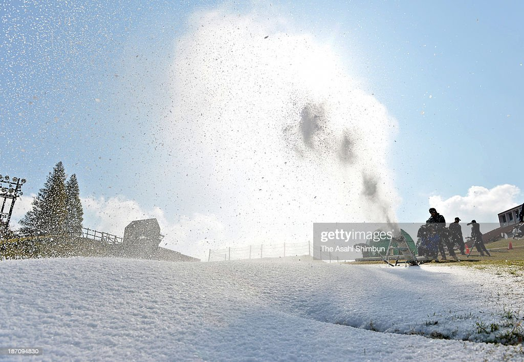 Artificial snow is discharged at Rokkosan Snow Park on November 1, 2013 in Kobe, Hyogo, Japan. The artificial ski resort will be opened on December 7.