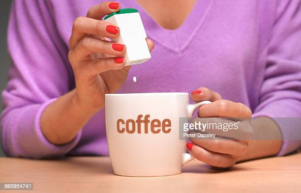 Artificial sweetener in coffee