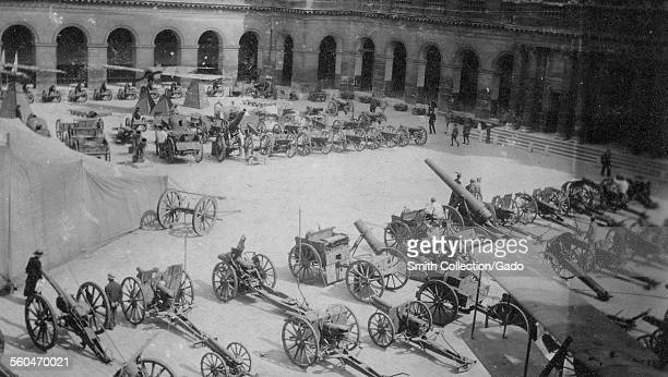 Artillery cannons and other German war trophies in a line at Les Invalides Paris France after World War 1 1918