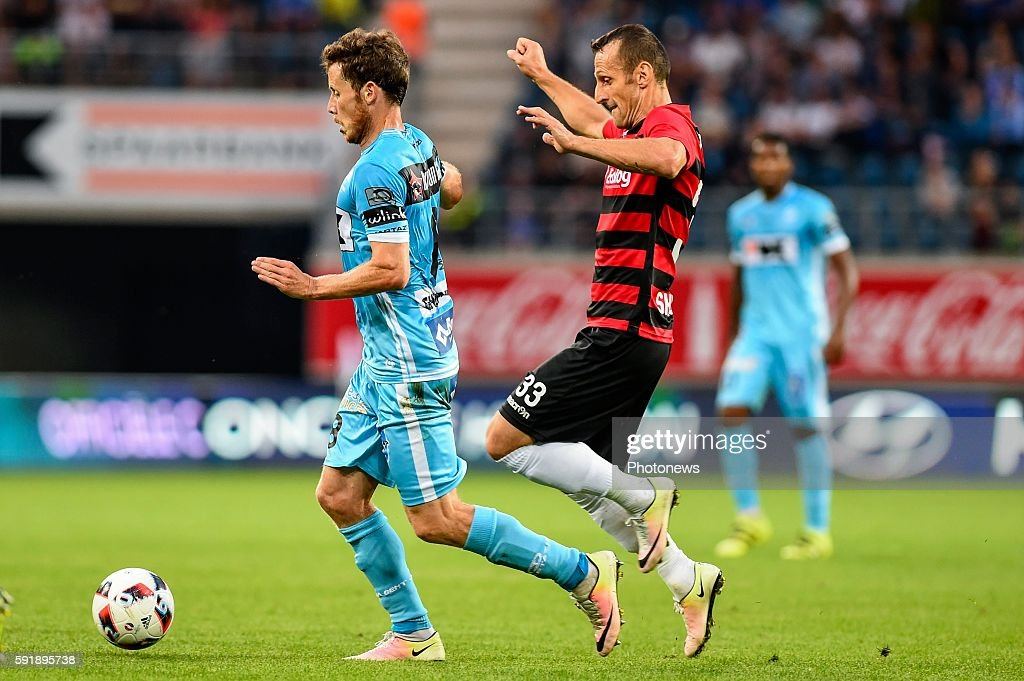 Artim Polozani and Tomas Matton during the Uefa Europa League match between KAA Gent and KF Shkendija In the Ghelamco Arena Gent Belgium via Getty...