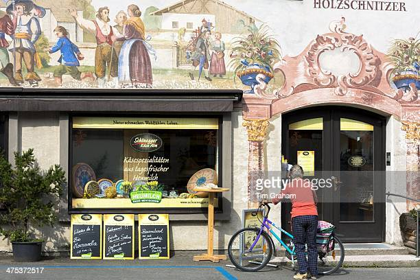Artisan food shop selling bread and cheese in the village of Oberammergau in Bavaria Germany