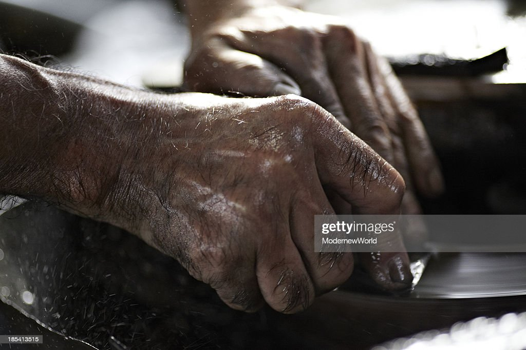 artisan sharpening blade of the plane in Sanjo : Stock Photo