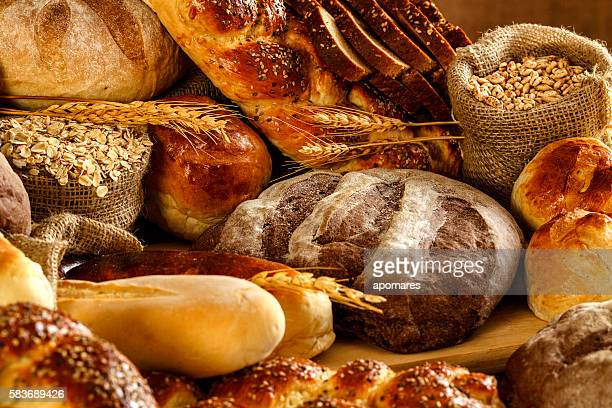 Artisanal bakery:  Fresh mixed Bun, rolls and Sourdough Bread