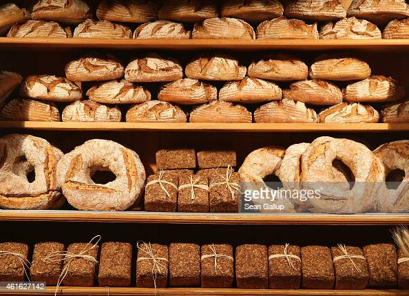 Artisinal north German bread awaits visitors at a stand at the International Green Week agricultural trade fair on January 16 2015 in Berlin Germany...