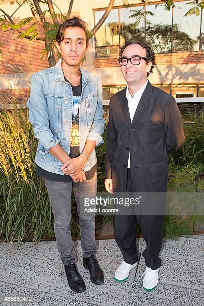 Artist Adrian Villar Rojas and Jose Kuri Kurimanzutto attend the Anual Fundraising Event at Diller von Furstenberg Sundeck on September 16 2015 in...