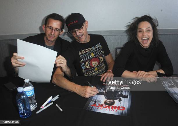 Artist Al Terian writer/director Don Mancini and actress Fiona Dourif attend Day 2 of the 2017 Son Of Monsterpalooza Convention held at Marriott...