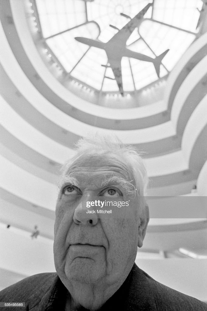Artist Alexander Calder and his painted jet airplane models at the Guggenheim Museum in August 1973.