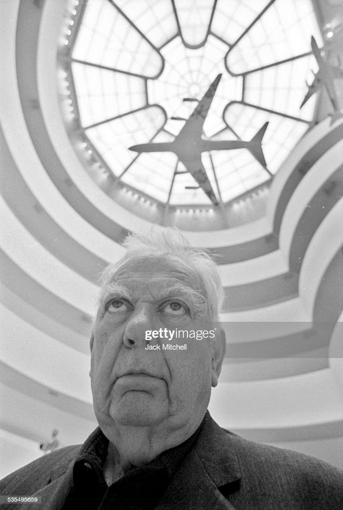Artist <a gi-track='captionPersonalityLinkClicked' href=/galleries/search?phrase=Alexander+Calder&family=editorial&specificpeople=206602 ng-click='$event.stopPropagation()'>Alexander Calder</a> and his painted jet airplane models at the Guggenheim Museum in August 1973.