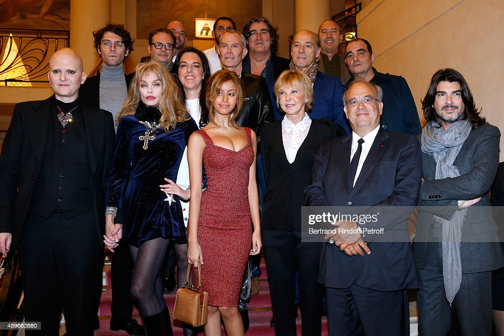 Artist <a gi-track='captionPersonalityLinkClicked' href=/galleries/search?phrase=Ali+Mahdavi&family=editorial&specificpeople=4352644 ng-click='$event.stopPropagation()'>Ali Mahdavi</a> , actress <a gi-track='captionPersonalityLinkClicked' href=/galleries/search?phrase=Arielle+Dombasle&family=editorial&specificpeople=616903 ng-click='$event.stopPropagation()'>Arielle Dombasle</a>, <a gi-track='captionPersonalityLinkClicked' href=/galleries/search?phrase=Zahia+Dehar+-+Lingerie+Designer&family=editorial&specificpeople=8665462 ng-click='$event.stopPropagation()'>Zahia Dehar</a>, <a gi-track='captionPersonalityLinkClicked' href=/galleries/search?phrase=Jean-Claude+Jitrois&family=editorial&specificpeople=2644991 ng-click='$event.stopPropagation()'>Jean-Claude Jitrois</a>, Marie-Christiane Marek, Professor David Khayat and Fashion Designer Stephane Rolland attend the 19th Edition of 'Les Sapins de Noel des Createurs - Designer's Christmas Trees Press Preview. Held at Theatre des Champs Elysees on November 27, 2014 in Paris, France.