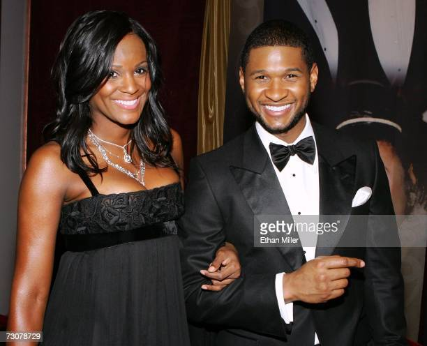Artist and Actor Usher Raymond arrives with girlfriend Tameka Foster at the 15th annual Trumpet Awards at the Bellagio January 22 2007 in Las Vegas...
