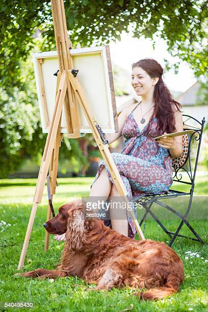 Artist and her dog