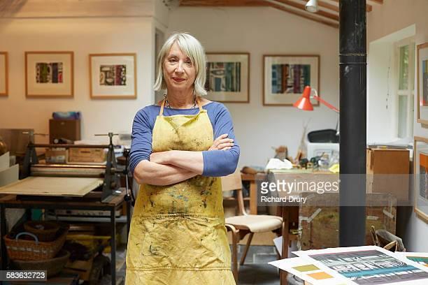 Artist and printmaker in her studio