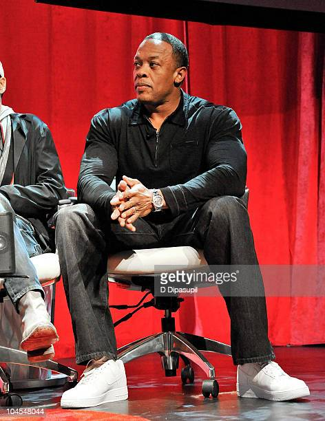 Artist and Producer Dr Dre attends Beats By Dr Dre Monster's new product line unveiling at Best Buy Theater on September 29 2010 in New York City