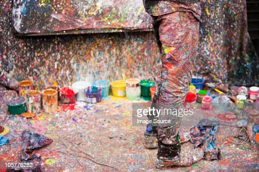 Artist and splattered paint, San Telmo, Buenos Aires, Argentina