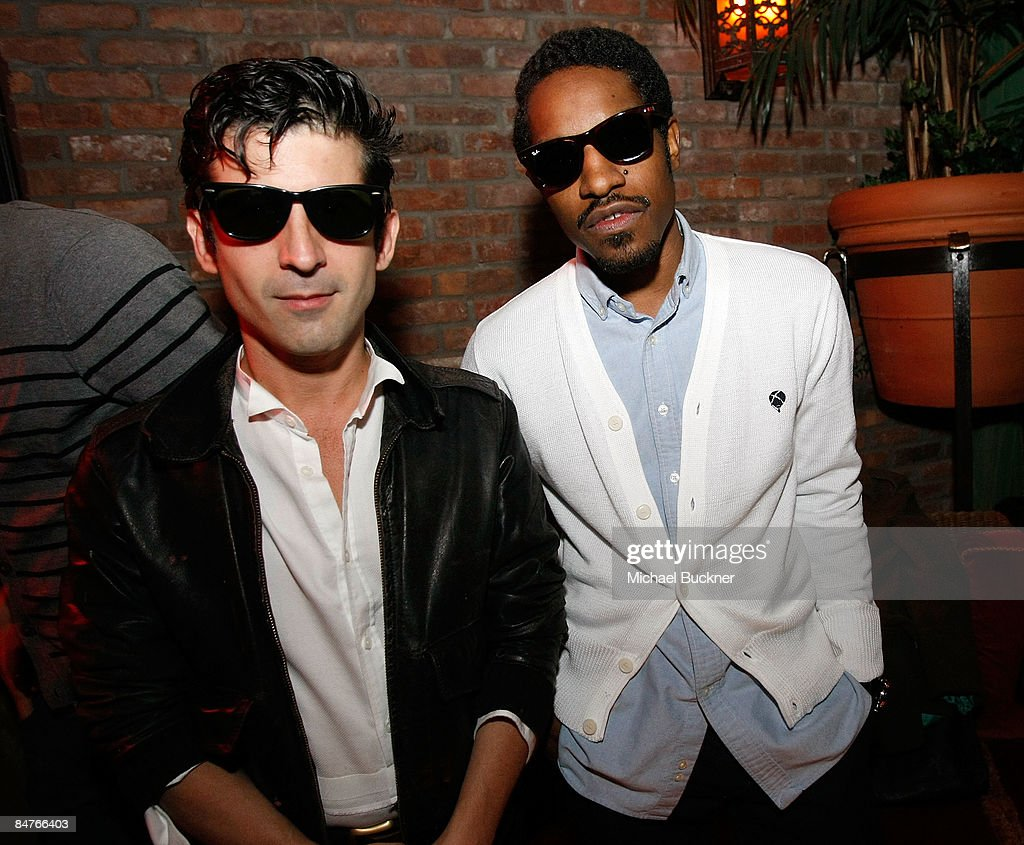 Artist Andre and musician Andre 3000 attend the Belvedere IX Launch Party at The Bowery Hotel on February 12, 2009 in New York City.