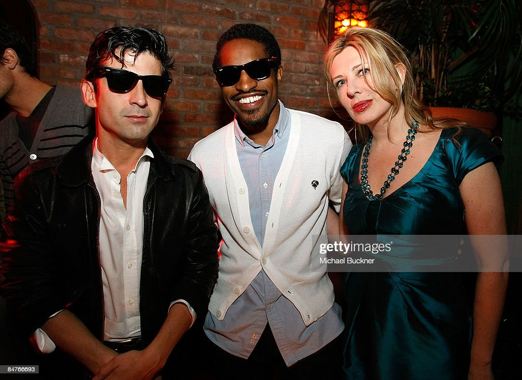 Artist Andre, musician Andre 3000 and Aslaug Magnusdottir attend the Belvedere IX Launch Party at The Bowery Hotel on February 12, 2009 in New York City.