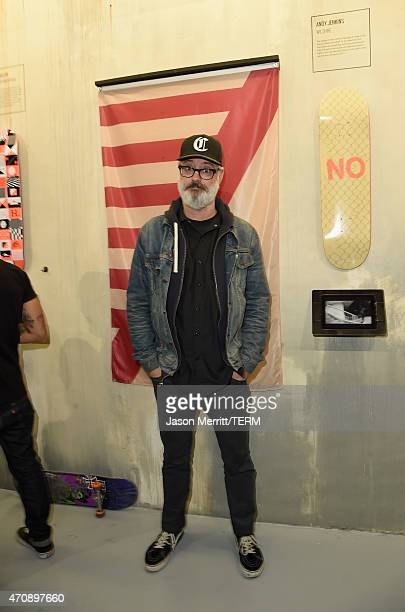 Artist Andy Jenkins attends Oakley In Residence Los Angeles community space grand opening celebrating creativity in skate on April 23 2015 in Los...