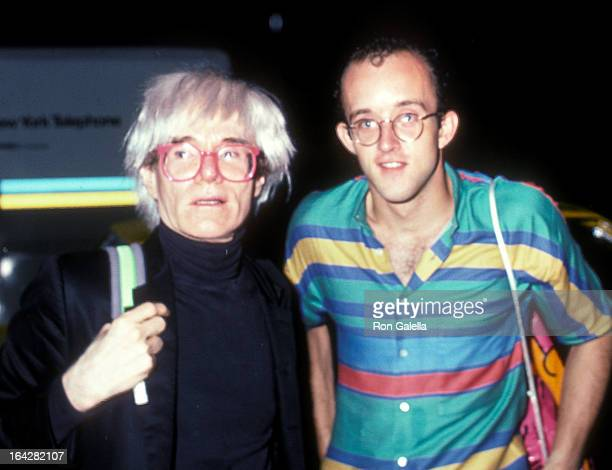 Artist Andy Warhol and artist Keith Haring attend Mick Jagger's 42nd Birthday Party on July 26 1985 at the Palladium in New York City